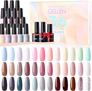 Gellen 36 Colors Gel Nail Polish Kit - with Top&Base Coat Matte Top Coat, Popular Nail Art Designs Candy/Nudes/Grays/Brow...