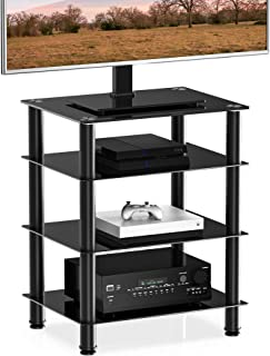 UMI. by Amazon Soporte para Multimedia con 4 Estante Mueble HiFi con Ruedas Cristal