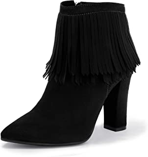 IDIFU Women's Elegant Rhinestones Mid Stiletto Heels Ankle Boots with Zipper