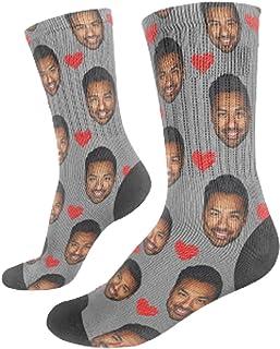 UNiiyi, Calcetines faciales personalizados Novedad Calcetines faciales personalizados divertidos con imagen Te amo Impresión Foto personalizada de dos caras en calcetines Regalos para niños Hombres Mujeres