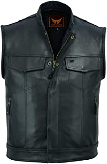 A&H Apparel Mens Genuine Cowhide Leather Vest Biker Vest Concealed Carry Durable Vest (XXX-Large)