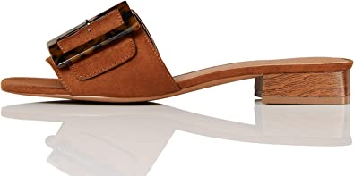 Amazon Brand - find. Low Heel Large Buckle Mule, Women's Mules