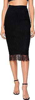 MAKEMECHIC Falda de lápiz elástica por Debajo de la Rodilla para Mujer, Negro 4, L