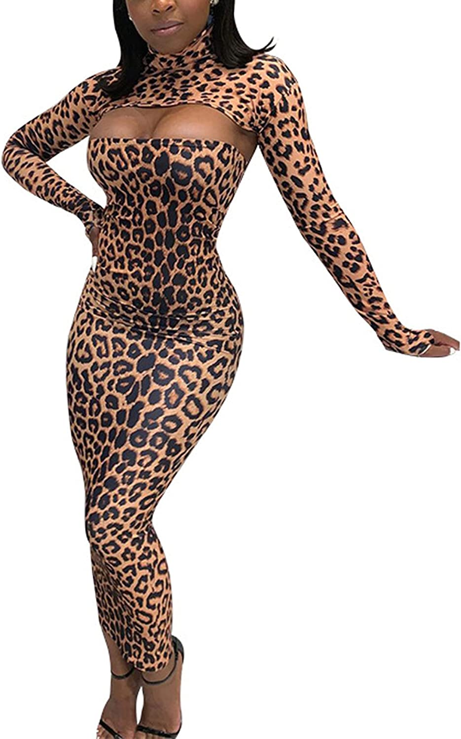 Women Fashion Leopard 2 Pieces Outfits,Skinny Maxi Dress+Long Sleeve Smock Tube Tops Set