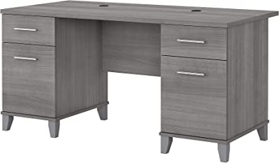 Bush Furniture Somerset Office Desk with Drawers, 60W, Platinum Gray