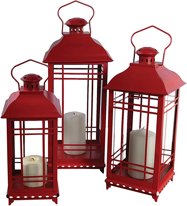 Melrose International Metal And Glass Lantern Red Set Of 3