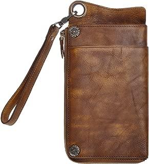 Vintage Handmade Dip-dye Leather Wallet Card Holder Long Clutch with Detachable Wristlet