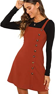 Women's Button Front Pinafore Overall Dress