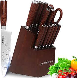 Couteaux cuisine,ensembles de couteaux de cuisine, couteaux de chef avec bloc en bois, set couteaux professionnels, lot de...