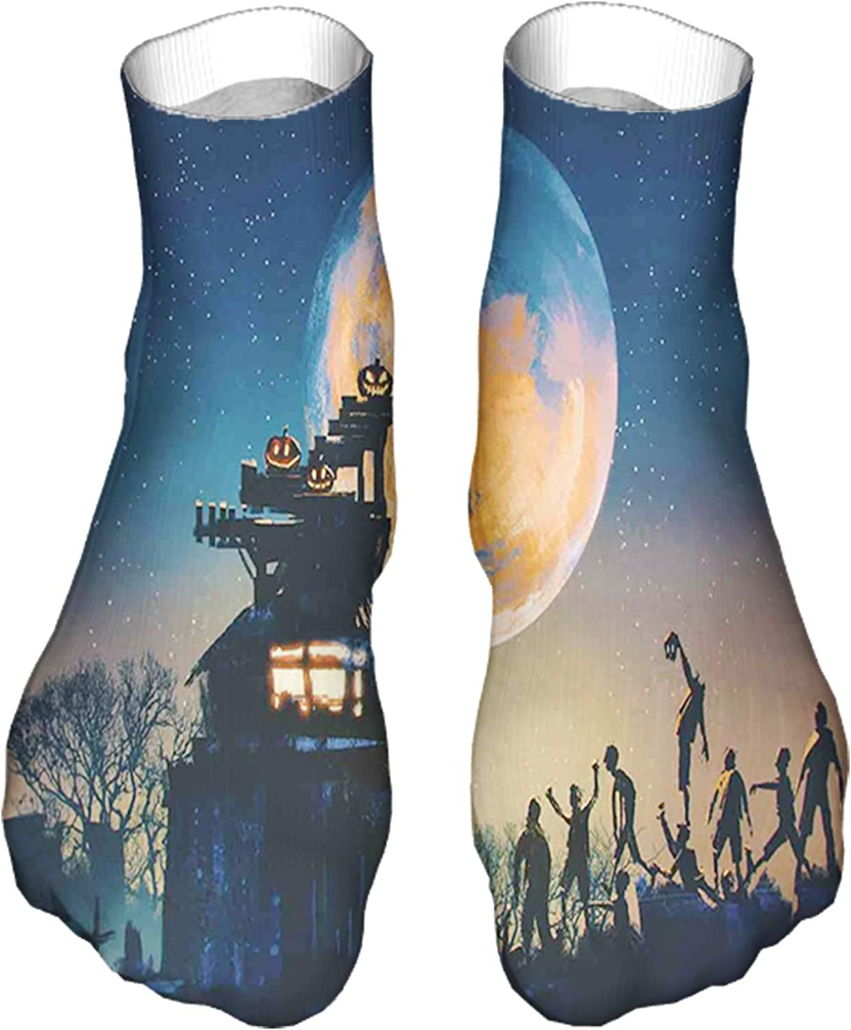 Unisex Funny Colorful Dress Socks Patterned Crazy Design SocksDead Queen in Castle Zombies in Cemetery Love Affair Bridal