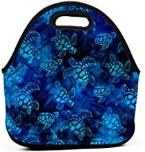 Neoprene Lunch Bags Food Container Tote for Women Men, Portable Insulated Picnic Bento Handbags for Work Outdoor Travel, Watercolor Blue Sea Turtle