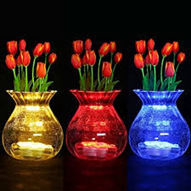 JYtrend Super Bright LED Floral Tea Light Submersible Lights for Party Wedding (White, 20 Pack)