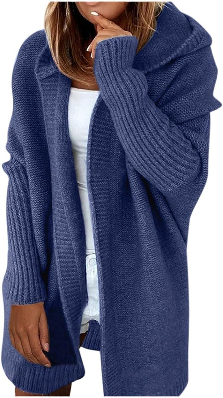 Women Oversized Cardigan Knit Open Front Sweaters Boyfriend Chunky Outwear Coat Solid Color Hoodie Pocket Long Sleeve