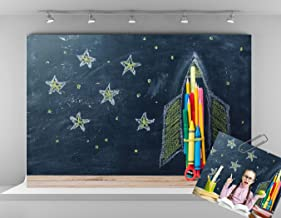 Kate 7x5ft Back to School Photography Backdrops Colorful Chalk Blackboard Photo Background Books Stationery Cartoon Backdrop for Photoshoot