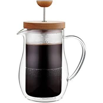 "Osaka Cafetiere 6 Cup (27 oz) Double-Walled Borosilicate Glass, Coffee and Tea French Press, with Wood Lid""Zenrin-Ji"""