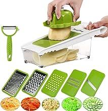 BestFire Adjustable Mandoline Slicer Vegetable Slicer Grater Cutter Chopper, Julienne Slicer Food Slicer with 5 Interchangeable Stainless Steel Blades Food Container Safety Holder Vegetable Peeler
