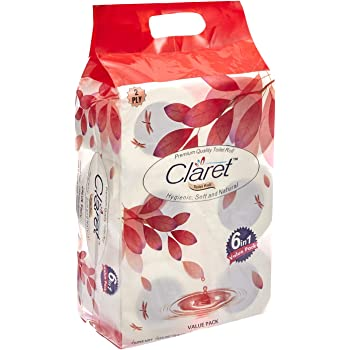 Claret Soft and Hygienic, White 2 Ply Bathroom Tissue/Toilet Tissue/Toilet Roll/Toilet Paper
