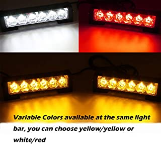 SmallfatW 2X6 Led Emergency Head Grille Strobe Light Waterproof Surface Mount Deck Dash Warning Light Vehicles Trucks Police Changing Color Light with Strong Aluminum Housing (Yellow Amber/Red White)