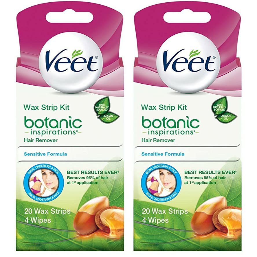 鯨一回期待して海外直送品 2箱 Veet Ready to Use Wax Strips Hair Remover for Body, & Face - 20 回分