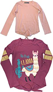 MISS POPULAR Girls 2-Pack Long Sleeve Tie Front T-Shirt with Chest and Sleeve Print | Cute Fashion Prints for Girls Size 7-16