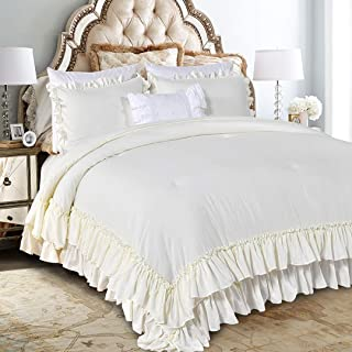 Queen's House Farmhouse Ruffled Comforter Set Ivory Full/Queen