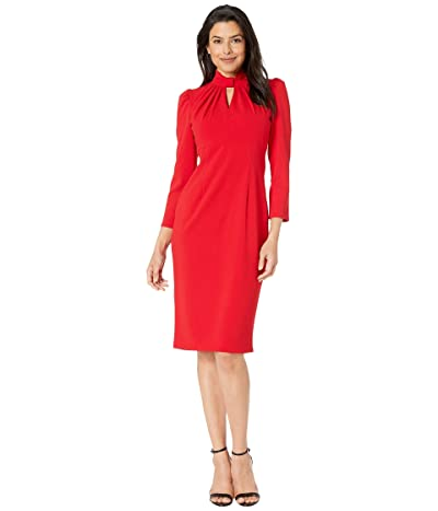 Calvin Klein 3/4 Sheath Dress with Keyhole (Red) Women