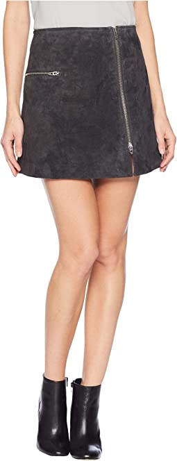 Real Suede Mini Skirt with Zipper Detail in Dark and Stormy