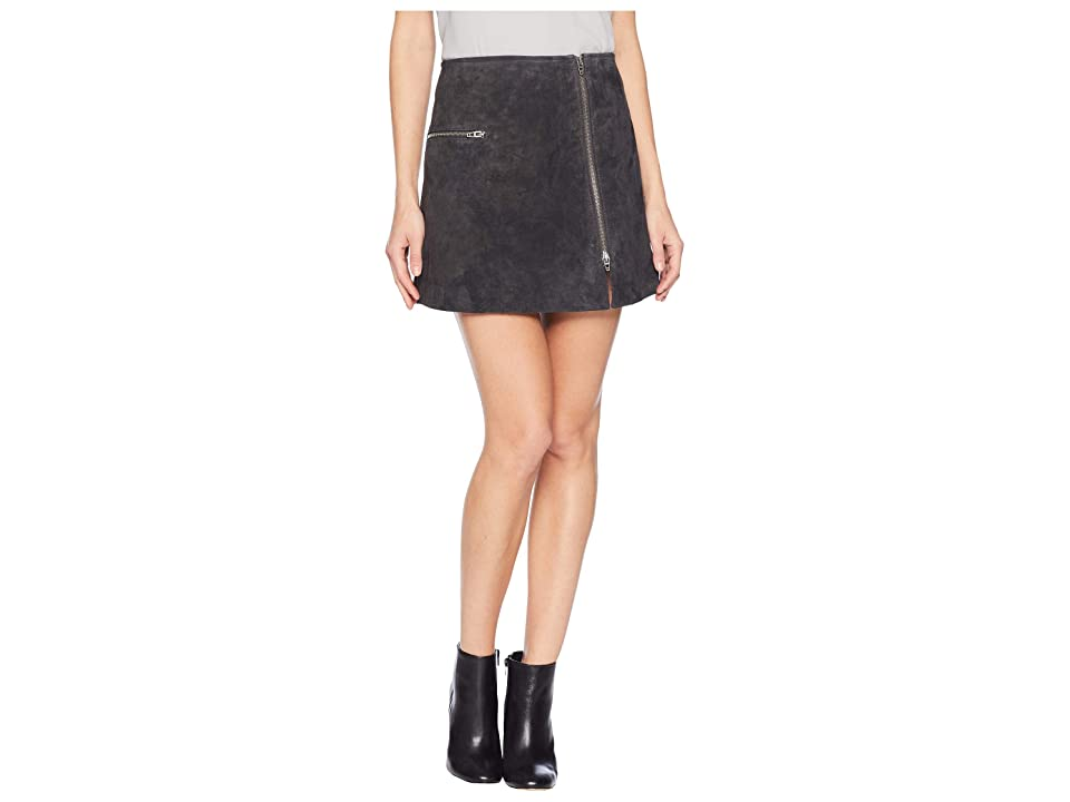 Blank NYC Real Suede Mini Skirt with Zipper Detail in Dark and Stormy (Dark and Stormy) Women