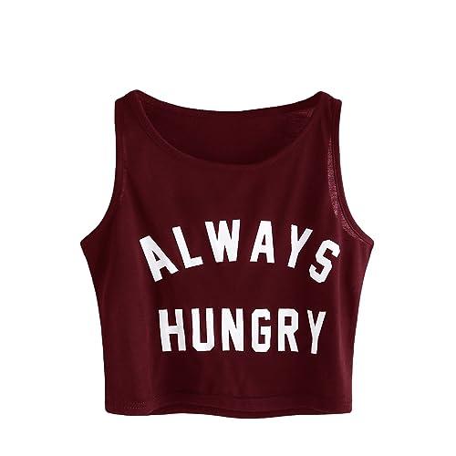 ee89b333d83 SweatyRocks Women's Summer Sleeveless Letter Print Casual Crop Tank Top  Shirts