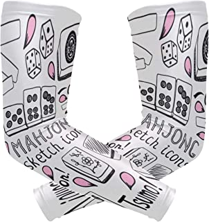NQEONR Sports Athletic Arm Sleeve Mahjong Table Game China Entertainment Print Compression Sleeves Arm Warmer Moisture Wicking Uv Protection for Youth Adult Outdoor Sunblock Protective Gloves Sleeves