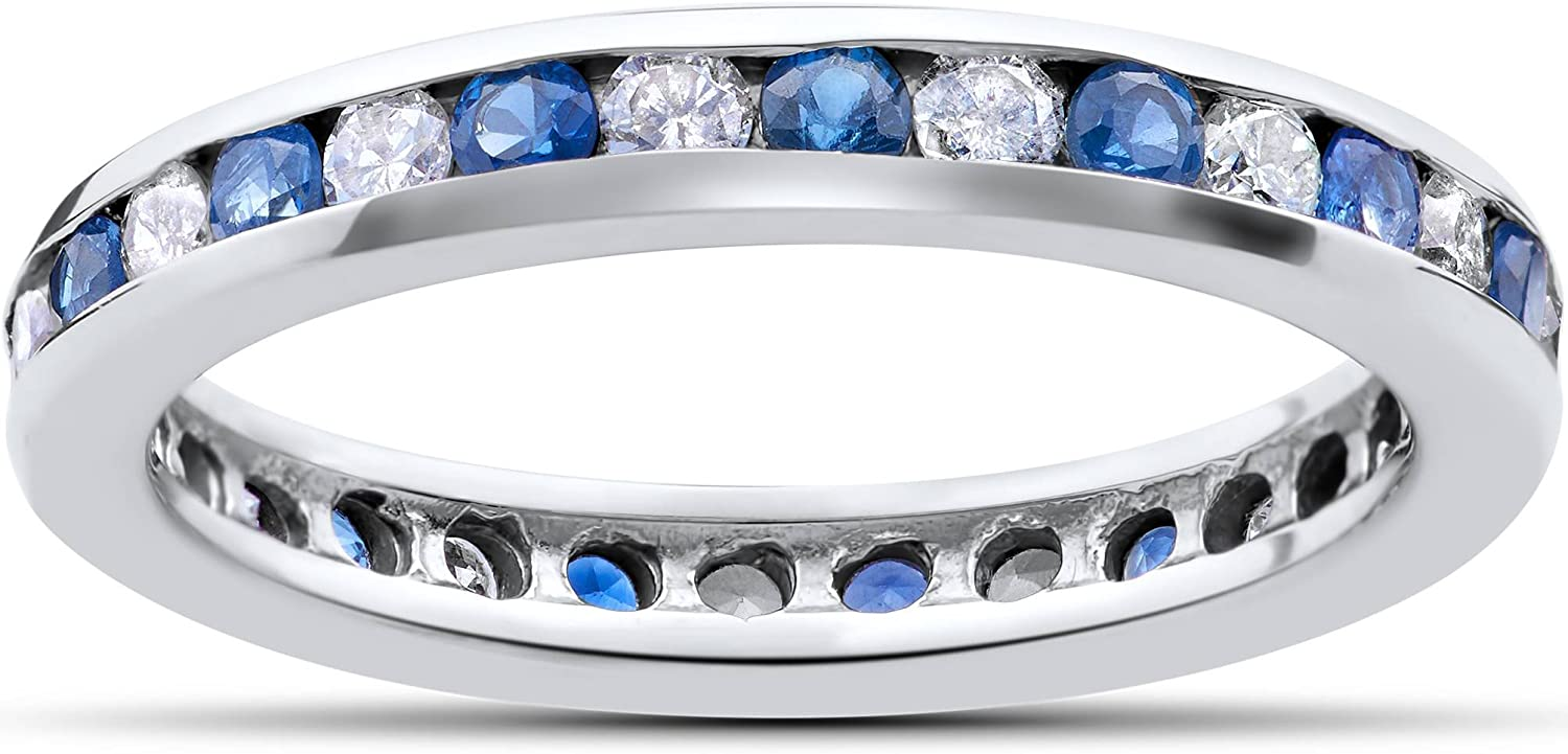 1CT Blue Now on sale Sapphire Diamond At the price Channel Eternity Ring Set Wedding 14