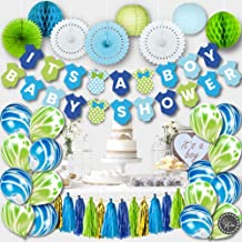 PREMIUM Baby Shower Decorations for Boy Kit | Boy Baby Shower Decorations Set | IT'S A BOY Banner, Paper Lanterns, Honeycombs | Tissue Paper Fans | Tassels | Marble Balloons | Blue Gold Green White
