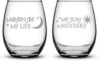 Integrity Bottles Premium Wine Glasses, Set of 2, Moon of My Life, My Sun and Stars, Hand Etched 14.2oz Stemless Gifts, Ma...
