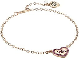 Betsey Johnson Fuchsia and Rose Gold Heart Anklet
