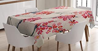 Ambesonne Floral Tablecloth, Cherry Blossoms Sakura Eastern Old Style Painting Print Vintage Theme, Rectangular Table Cover for Dining Room Kitchen Decor, 60