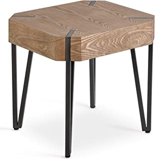 HILLENBRAND & CO Oak Side Table, Rustic Industrial Side End Tables Living Room. Veneer Finish, Stylish Metal Nightstand, Accent, Sofa, Lamp, Bedside End Tables Bedroom. Modern Farmhouse Wood End Table