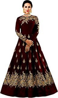5fa9c34181d6 BRIDAL4Fashion Women's Embroidered Taffeta Silk Anarkali Gown (Free size)