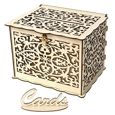 Card Box Rustic Large Wood Hollow Gift Card Holder with Lock Money Box for Wedding Receptions, Birthday, Graduation, Baby Shower Party Decor (Yellow 3, Large)