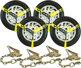 VULCAN Lasso Style Auto Tie Down with Chain Anchors - 2 Inch x 96 Inch, 4 Pack - Classic Yellow - 3,300 Pound Safe Working Load