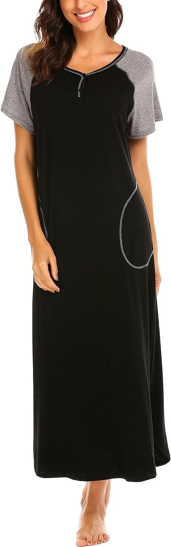 goldenfox Womens Nightshirt VNeck Short Sleeve Patchwork Print Nightgown Sleep Dress SXXL