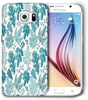 Snoogg Azul Hojas Funda Protectora Teléfono Carcasa Funda para Samsung Galaxy S6