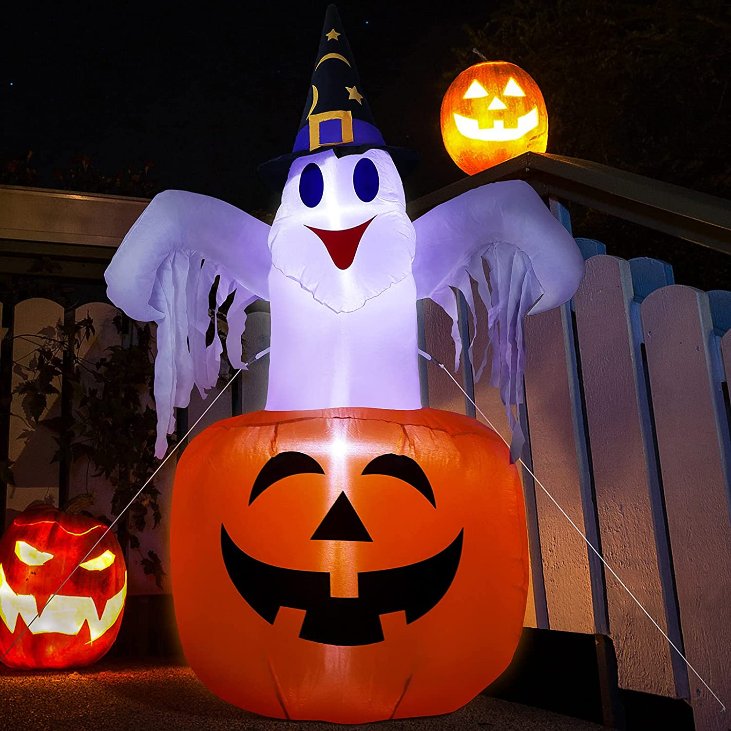 WDERNI Max 52% Choice OFF Halloween Inflatable Outdoor Cute Blo Pumpkin with Ghost