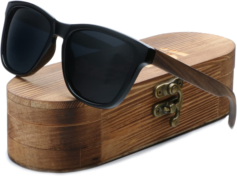 Ablibi Mens Womens Bamboo Wooden Sunglasses Polarized Driving Eyewear in Wood Box