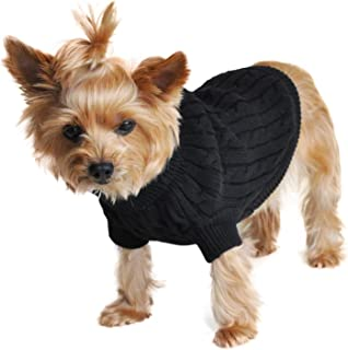 DOGGIE DESIGN Combed Cotton Cable Knit Dog Sweater