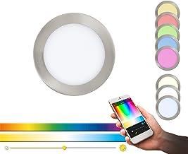 EGLO connect LED inbouwlamp Fueva-C, Smart Home inbouwlamp, materiaal: gegoten metaal, kunststof, kleur: mat nikkel, Ø: 17...