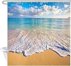 NYMB Beach Shower Curtain, Tropical Ocean and Waves at Sunrise Sun on Sea Shower Curtain, Fabric Bathroom Decorations, Bat...