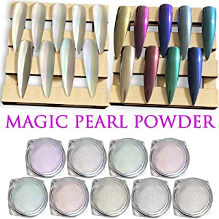 9 Boxes Chrome Nail Powder - Super Chrome Powder Rainbow Pack, Premium Salon Grade Unicorn Pearl Powder & Metallic Nail Pigment for Mirror Nails, 0.04oz/ 1g Per Box