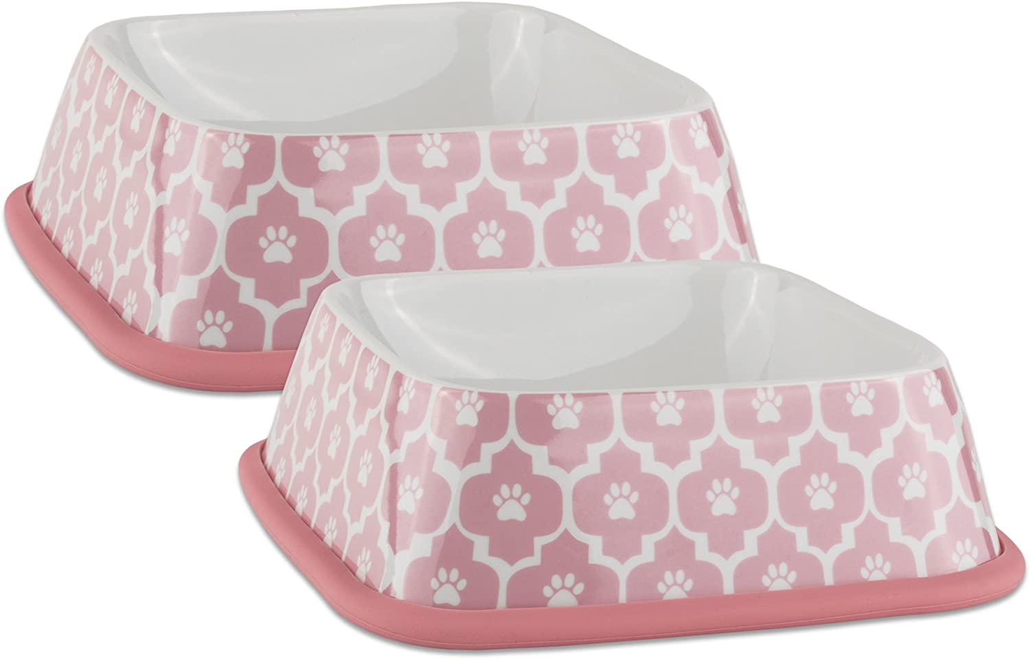 DII Bone Dry Lattice Square Ceramic Large Pet Bowl For Food & Water, 6.75  L x6.75  W x 2  H Set of 2, With NonSkid Silicone Rim for Dogs and CatsPink Sorbet