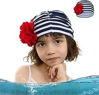 ZDHGLOBAL Kids Swim Cap Lycra Swimming Caps for Kid Floral Swim Caps Bathing Caps Long Hair Swimming Hat Toddler Swim Cap