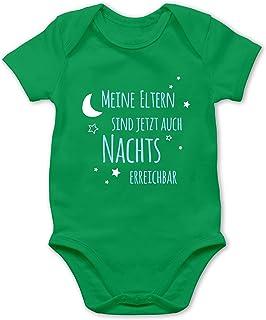 Shirtracer - Sprüche Baby - Meine Eltern sind jetzt auch Nachts erreichbar blau - Baby Body Kurzarm für Jungen und Mädchen